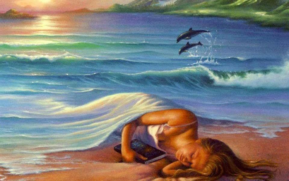 donna coperta dal mare