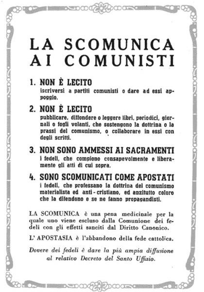 Scomunica comunisti
