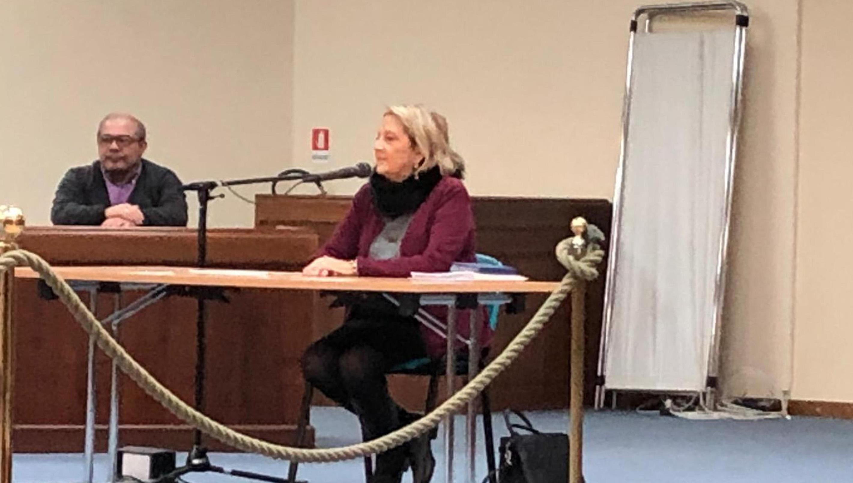 L'ex presidente della sezione misure di prevenzione del Tribunale di Palermo Silvana Saguto depone nel processo che la vede imputata davanti al Tribunale di Caltanissetta per presunte irregolarità nella gestione dell'ufficio, 20 febbraio 2019. ANSA