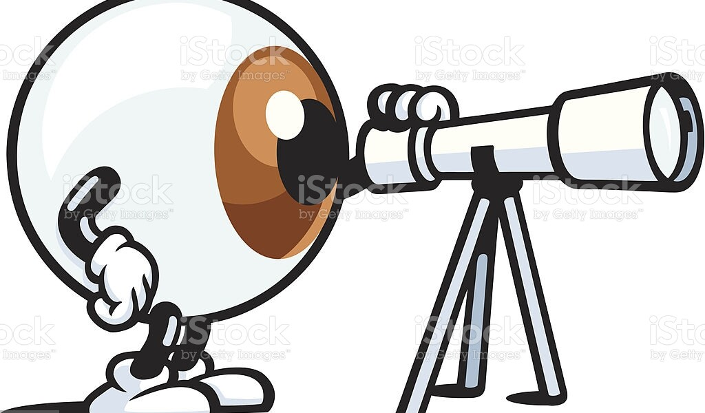 An eye character's looking through a telescope. A high rez jpeg & ai. file come with this image. Enjoy.